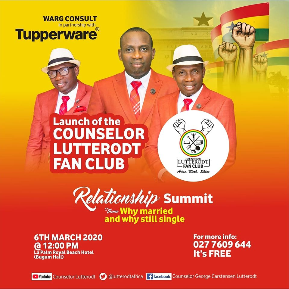 Counselor Lutterodt To Hold Relationship Seminar And Launch A Fan Club On Independence Day